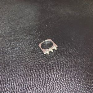 Vintage stuffed silver square ring